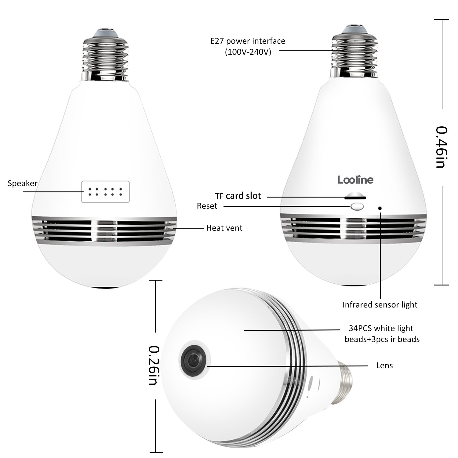 Light Bulb Camera VR Panoramic IP Wireless WiFi Camera Include 16GB TFCard with Cloud Store 360 Degree Fisheye Lens Lighting Lamp for Home Security Camera Bulb 960P HD E27 LED Dimmable Lamp by Looline (Image #2)