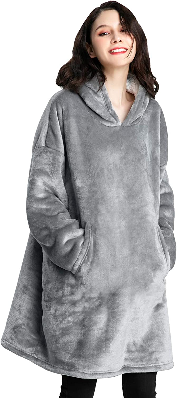 Cmtpuy Sweatshirt Blanket,Oversized Sherpa Hoodie,Fleece Blanket,Sherpa Pullover for Womens,Mens,Children,Wearable Blanket (Gray)