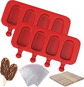 Ozera 2 Pack Silicone Popsicle Molds, 4 Cavities Homemade Ice Pop Molds Red Oval, Popsicle Maker with 50 Wooden Sticks & 50 Popsicle Bags for DIY Ice Popsicle