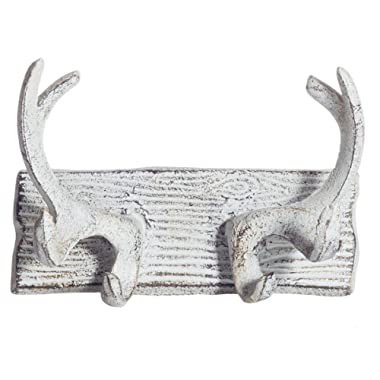Comfify Vintage Cast Iron Deer Antlers Wall Hooks Antique Finish Metal Clothes Hanger Rack w/Hooks | Includes Screws and Anchors | in Antique White| (Antlers Hook CA-1507-23)