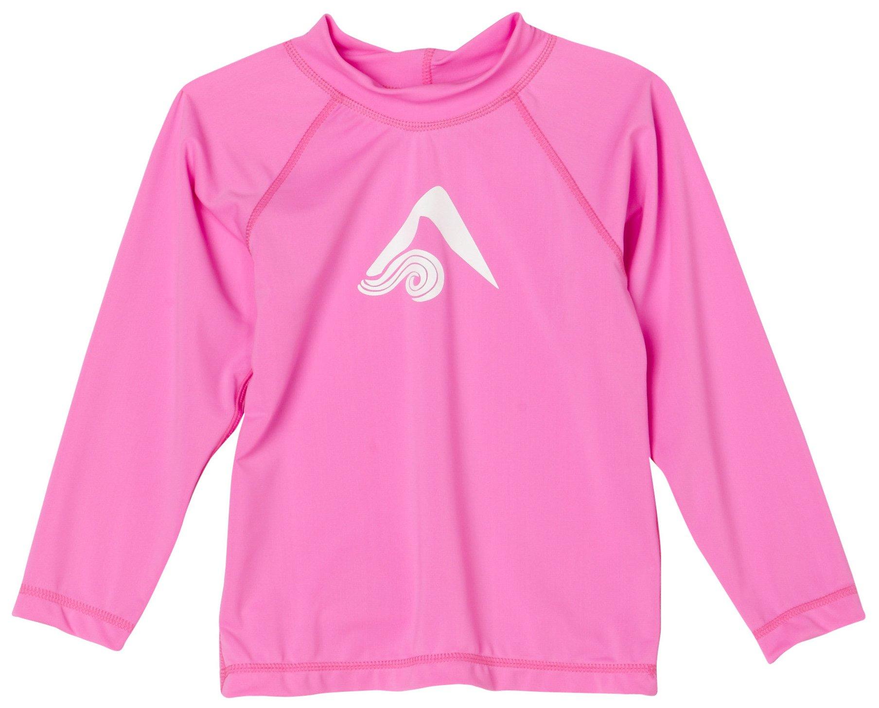 Kanu Surf Little Girls' Toddler Keri UPF 50+ Long Sleeve Rashguard, Pink, 5T