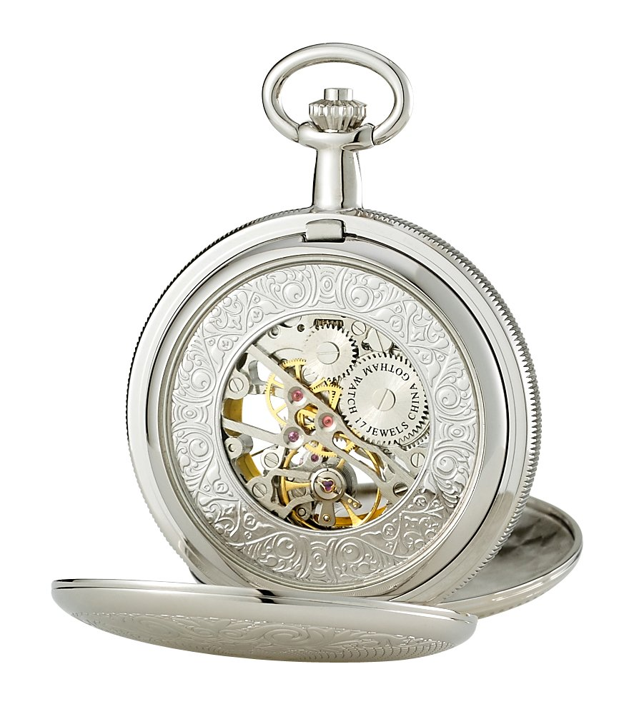 Gotham Men's Silver-Tone Mechanical Pocket Watch with Desktop Stand # GWC14051S-ST by Gotham (Image #3)