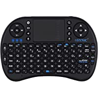 ESYNIC Mini Wireless Keyboard 2.4G XBMC Keyboard Touchpad Mouse Combo- Multi-media Portable Handheld Android Keyboard- for Google Android Smart TV Box Media Mini TV PC Stick HTPC IPTV Raspberry PI 3 PS3- British Layout-Black