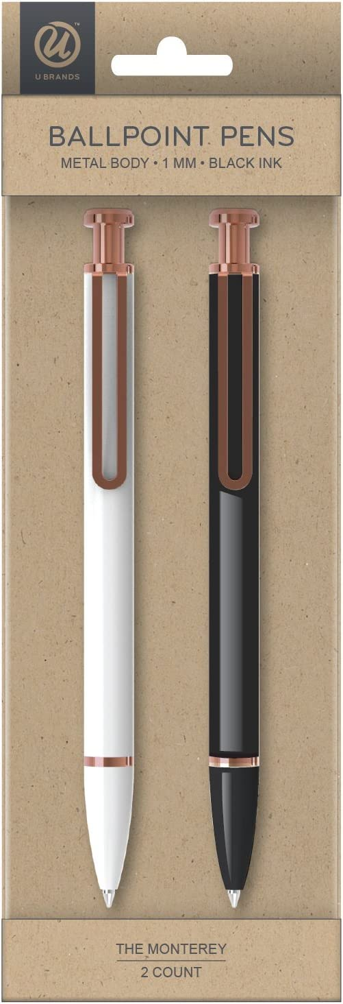 U Brands 'The Monterey' Retractable Ballpoint Pen, Black and White, Black Ink, 2-Pack