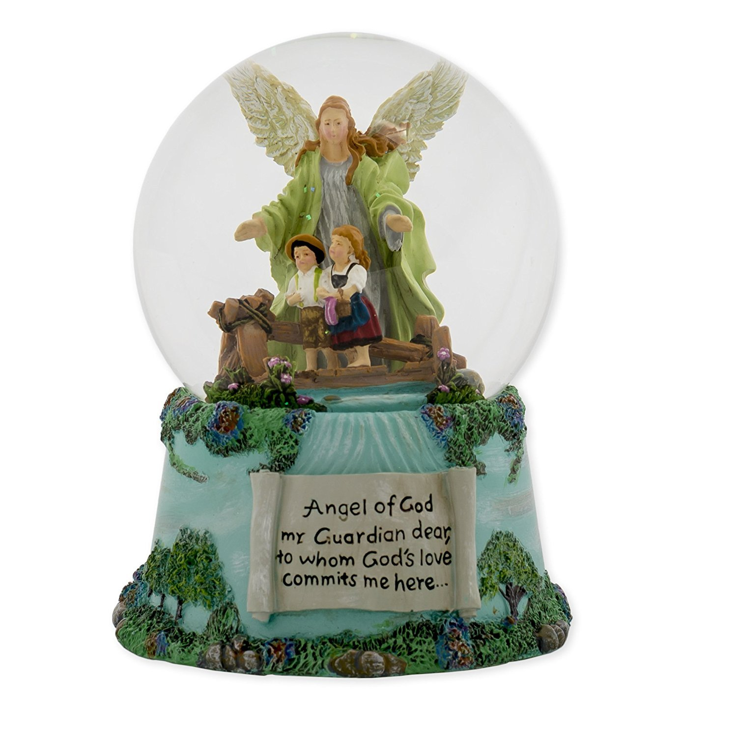 Roman Guardian Angel and Children 100MM Musical Water Globe Plays Tune Jesus Loves Me