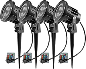 RGB Landscape Lights, Ourleeme Outdoor Spotlight with Stake,Lawn Flood Light 12W, Waterproof LED Flood Lights,Color Changing Spotlight with Remote Control for Garden,Yard 85-265V (4 Pc)