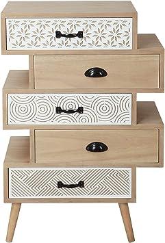 Casa Collection – Mueble cajonera de 5 cajones Serie Safari Retro Vintage Madera Natural: Amazon.es: Hogar