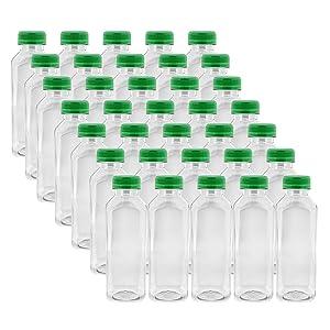 16oz Plastic Bottles with Caps, Clear 35pk - Empty PET Juice Containers Bottle in Bulk, Green Tamper Resistant Lids