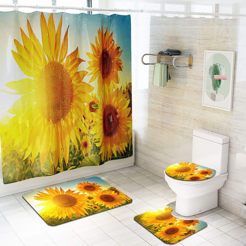 2019HoHo 4 Piece Bathroom Rug Bath Mat Set Include U-Shaped Contour Rug, Mat Toilet Lid Cover and Shower Curtain,Non-Slip Soft Bathroom Decorative Carpet(Sunflower Style)