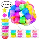 AUNOOL DIY Jelly Cube Slime - 12 Pack Cute DIY Jelly Cube Slime Stress Relief Toy Clear Crystal Scented Cube Slime for Kids Ages 5+