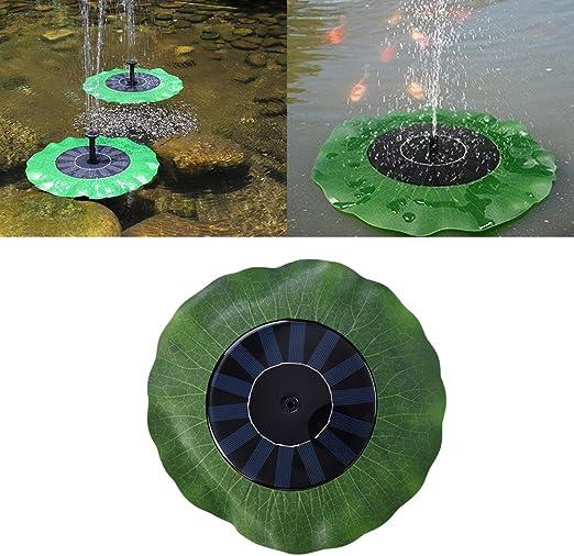 gaeruite fuente Solar bomba exterior, fuente de jardín fuente fuente flotante Lotus Hoja Forma Artificial fuente exterior, Bomba de agua solar solar bomba de agua solar 1.4 W: Amazon.es: Jardín