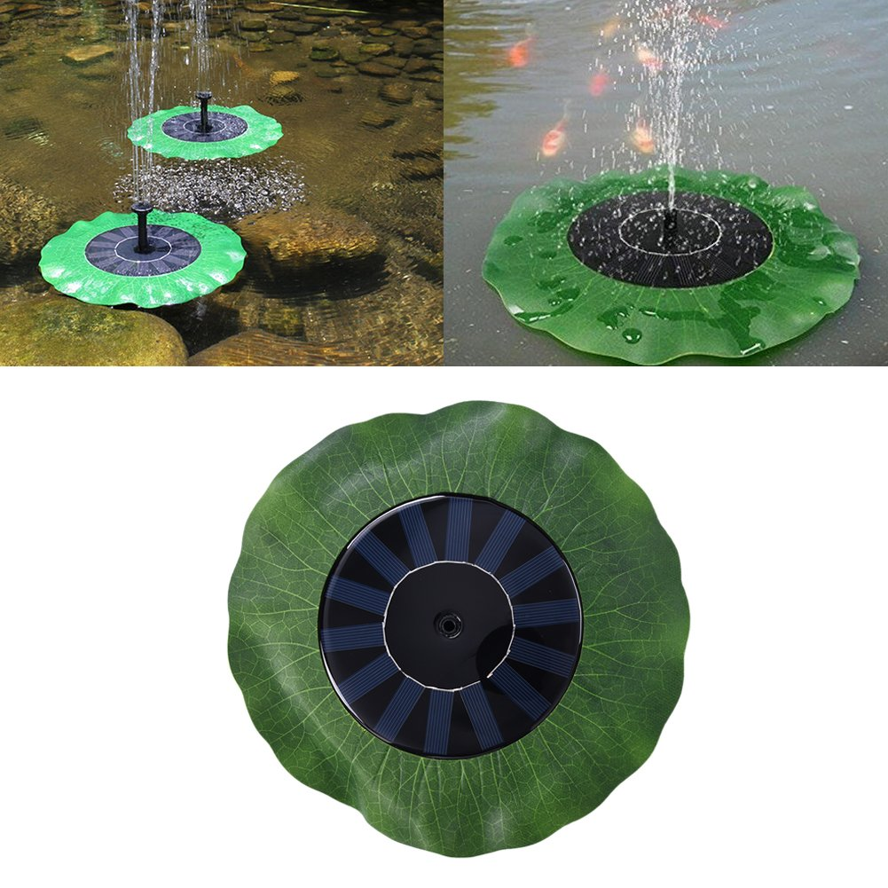 Gaeruite Solar Fountain Pump Outdoor, Solar Fountain Garden Fountain Floating Lotus Leaf Shaped Artificial Outdoor Fountain, 1.4W Solar Water Pump Solar Powered Water Pump