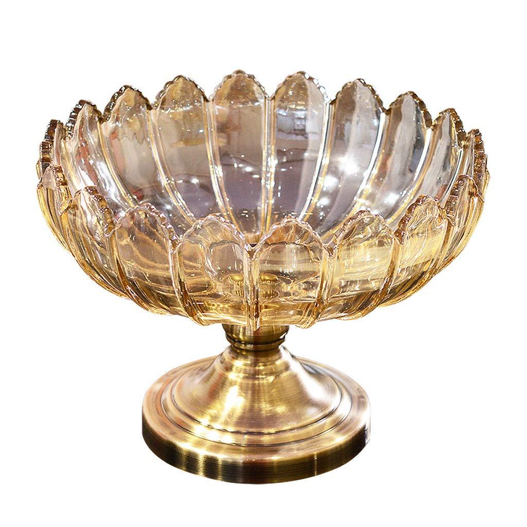 シンプルなレトロガラスフルーツディッシュフルーツバスケットプレートフルーツボウルフルーツラックキッチンリビングルームの装飾 (色 : ブラス ぶらす)  ブラス ぶらす B07NQ1WNK7