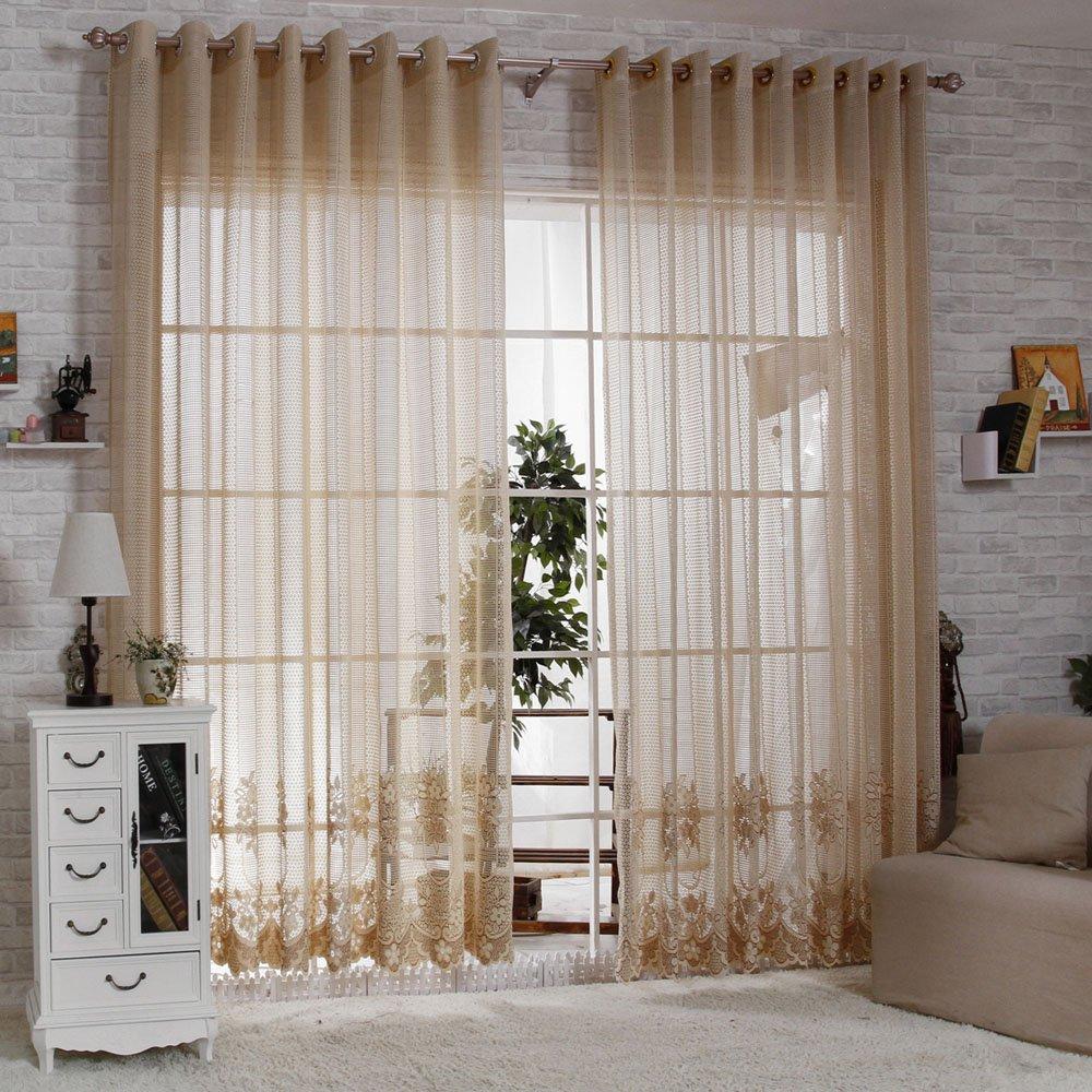 R.LANG Solid Grommet Top European Style Jacquard Living Room sheer Curtain 1 Pair Coffee 46W X 54 L Ltd