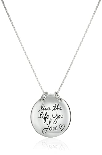 Amazon sterling silver live the life you love circle pendant sterling silver live the life you love circle pendant necklace 18quot aloadofball Images