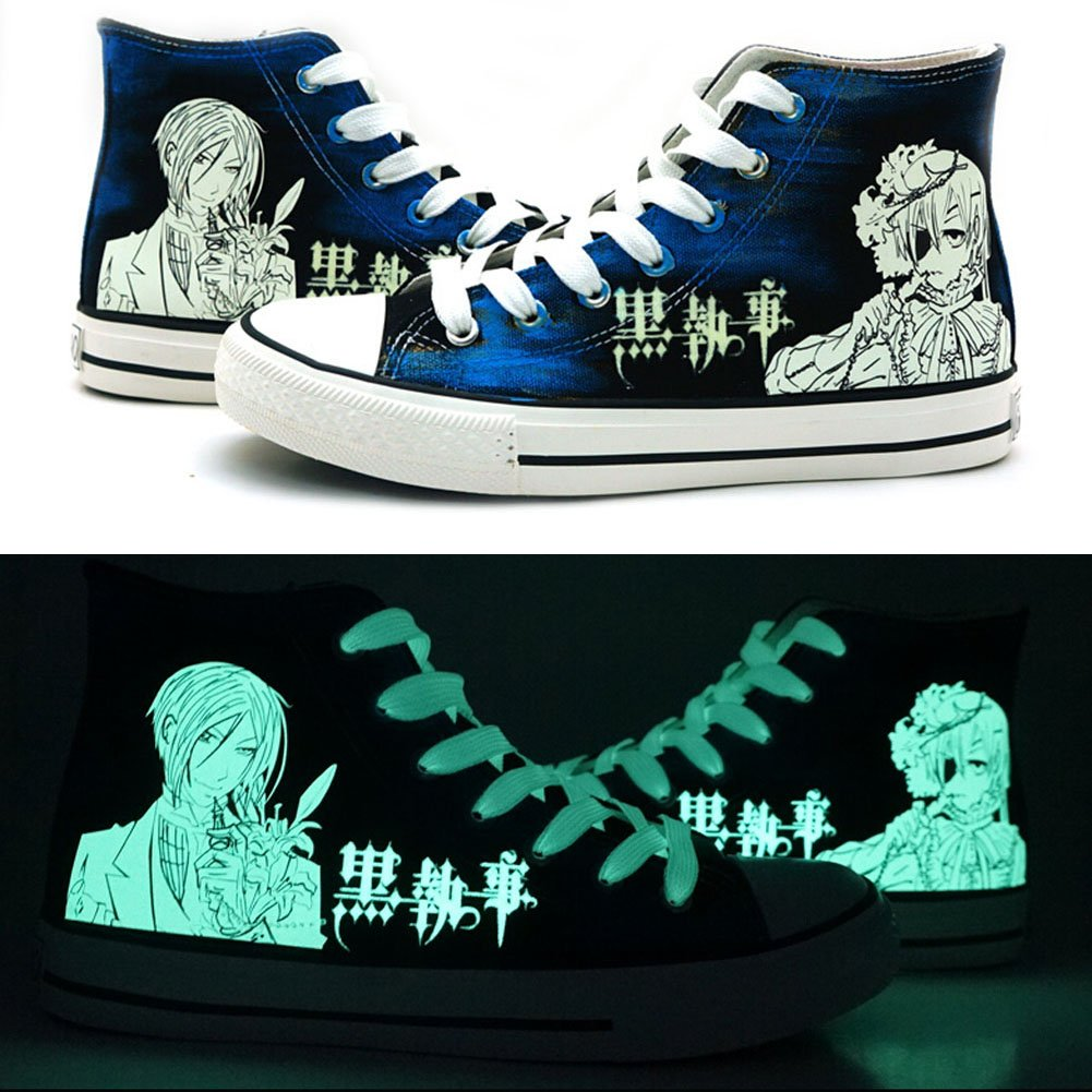 Black Butler Kuroshitsuji Ciel and Sebastian Cosplay Shoes Canvas Shoes Sneakers Luminous Telacos