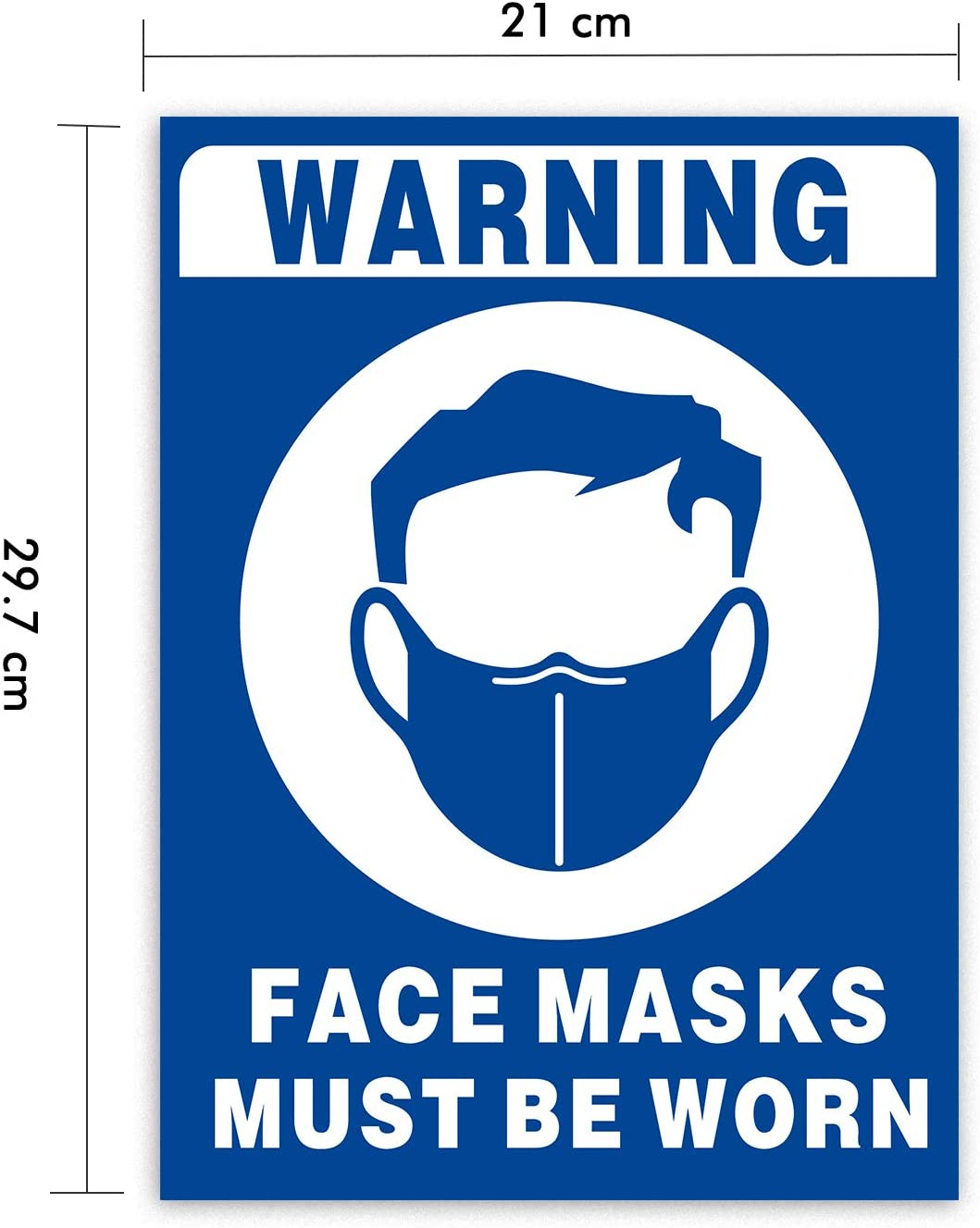 5 Pack Safety Sign -Face Coverings Must Be Worn,Self Adhesive Sticker Health and safety signs A4 label sticker Office Retail Business Warning Door notice 297mm x 210mm