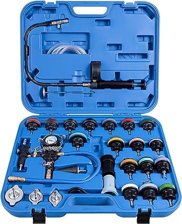 Costway 28 Tlg Kühlsystem Prüfgerät Kühler Drucktester Werkzeug Vakuum Abdrückgerät Prüfer Kühler Blau Auto