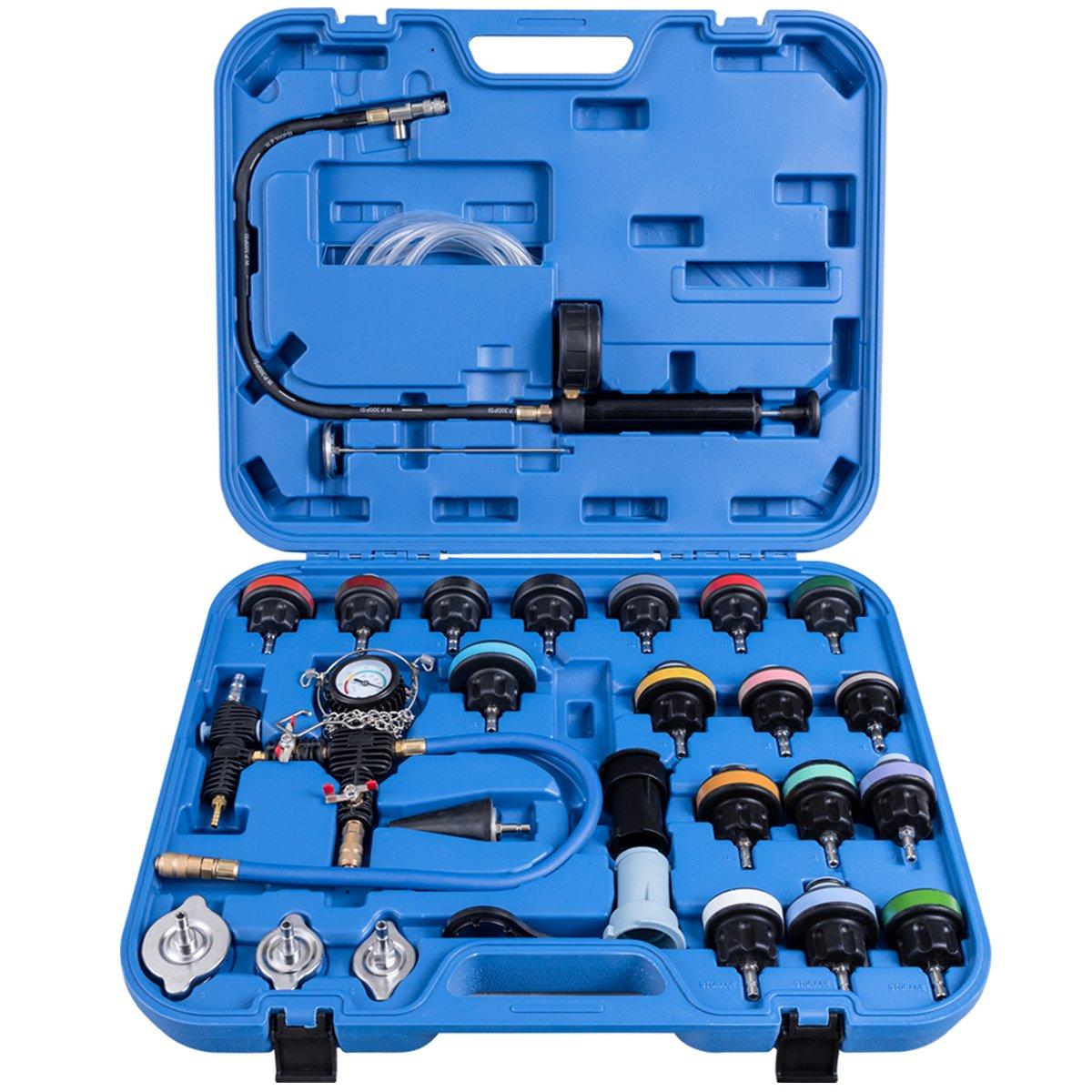 Goplus 28PCS Universal Radiator Pressure Tester Leak Checker Vacuum Type Cooling System Automotive Radiator Pressure Test Kit Purge and Refill Kit Set w/Carrying Case by Goplus (Image #2)