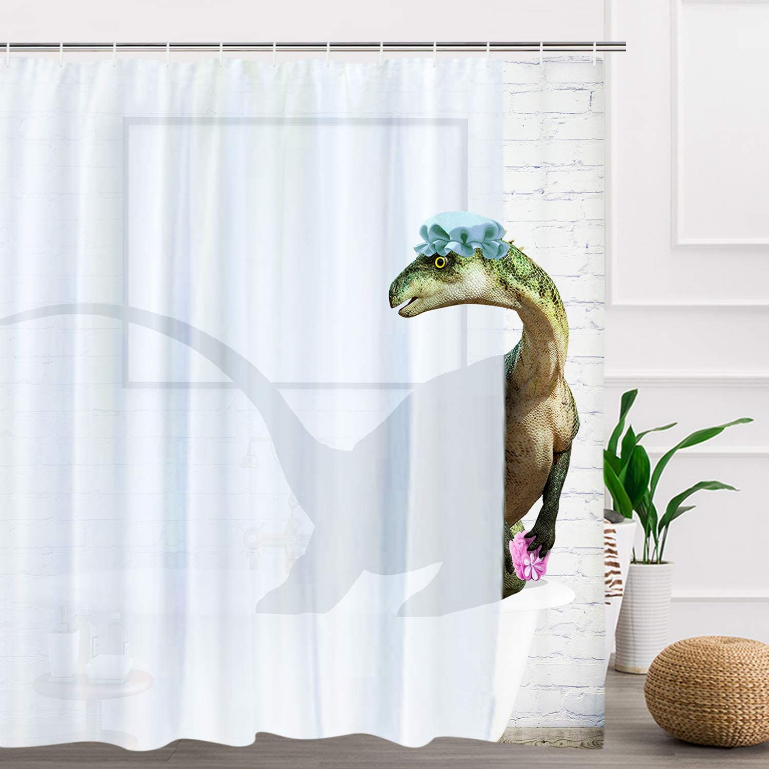 Waterproof Fabric Jurassic Dinosaur Era Bathroom Mat Shower Curtain Liner Hooks