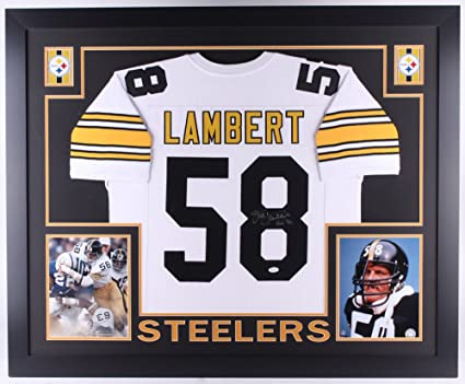 48dbcb440 Jack Lambert Signed Steelers 35x43 Custom Framed Jersey Inscribed ...