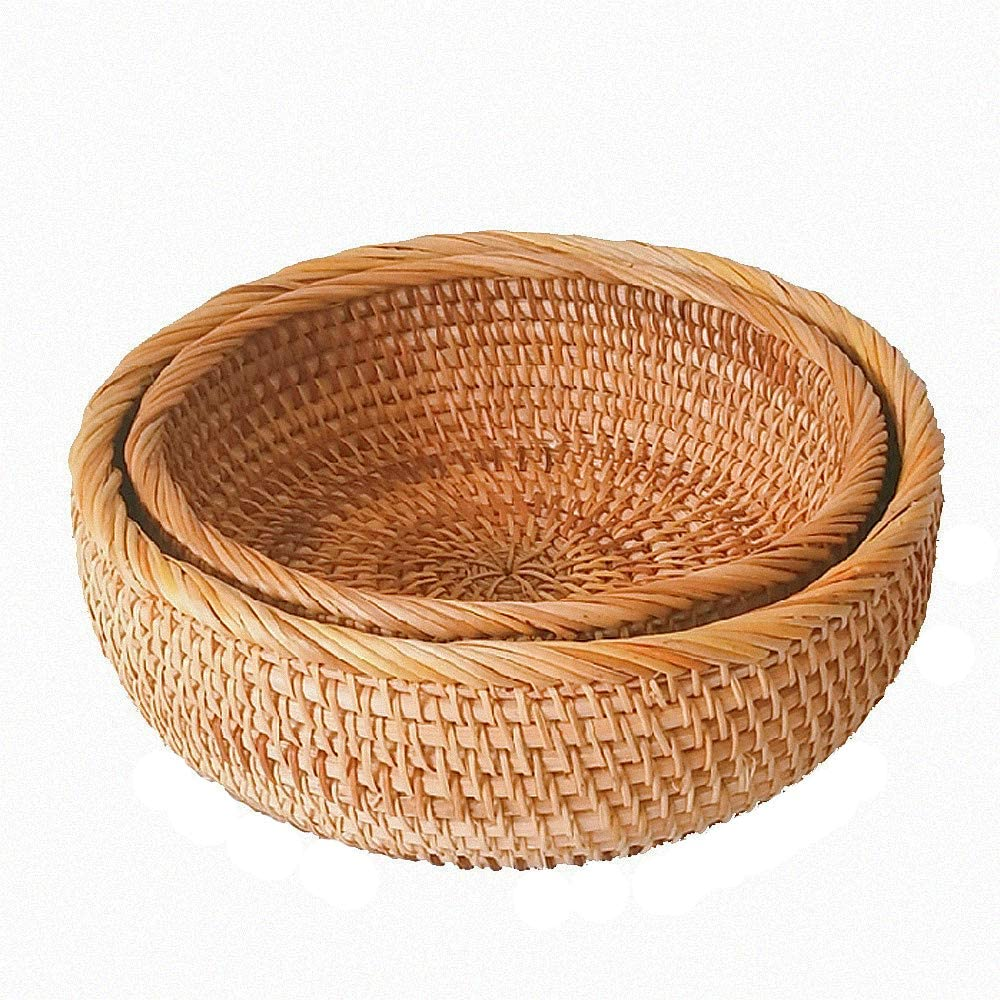 AMOLOLO Hadewoven Round Rattan Fruit Basket Wicker Food Tray Weaving Storage Holder Dinning Room Bowl(2-Size Kit)