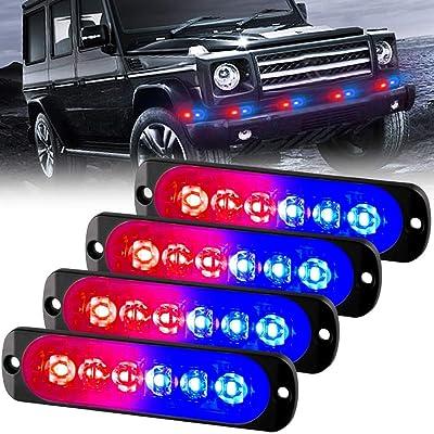 Sidaqi 12-24V 6-LED Super Bright Emergency Warning Caution Hazard Construction Strobe Light Bar with 18 Different Flashing for Car Truck SUV Van - 4PCS (Red&Blue): Automotive