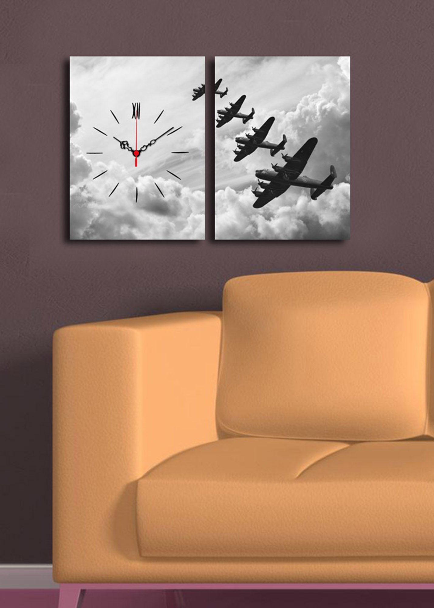 LaModaHome Home Decorative Canvas Wall Art with Real Running Clock 2 Pcs (Total 25'' x 16'') Wooden Thick Frame Painting Plane Sky Air War Cloud Sun Flying Pilot