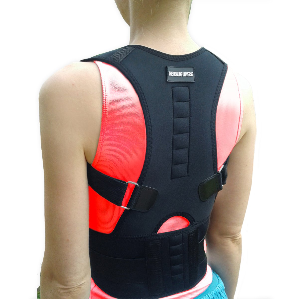 The Healing Universe - Thoracic Back Brace - Best Kyphosis Brace - The Back Brace - Spine and Back Pain Relief with Magnets - Head Forward Posture Corrector for Men and Women (S, Black)