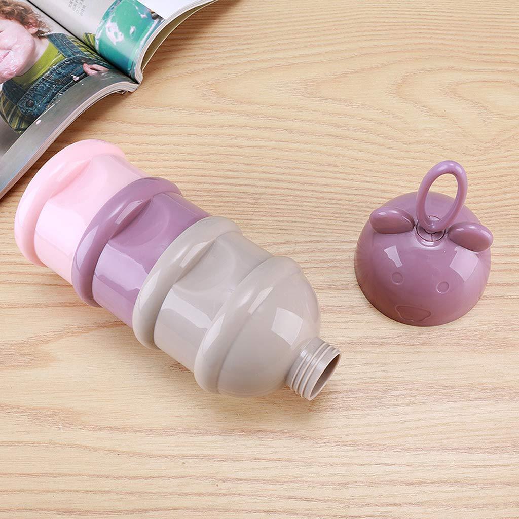 sans BPA Bo/îte Doseuse- 3 Compartiments- Ours Mignon Manyo Bo/îte Doseuse Lait Poudre Portable Conteneur Lait en Poudre avec Poign/ée de Boucle Bleu