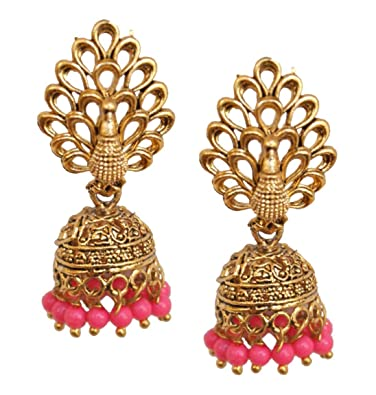 bc3d229df Image Unavailable. Image not available for. Color: Pahal Ethnic Light Pink  Pearl New Oxidized Gold Jhumka Earrings South Indian Bollywood ...