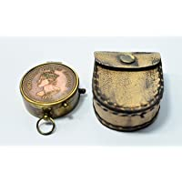 World Of Vintage Brass Victorian Embossed Pocket Compass (5.14 cms)