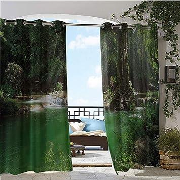 Cortina de privacidad para exteriores para Pergola, rama de árbol en primavera, hada, selva, crecimiento de la naturaleza, escena de madera, impresión fotográfica, aislado térmico, repelente al agua, cortina para balcón verde: