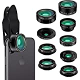 Phone Camera Lens Kit,9 in 1 Kaiess Super Wide Angle+ Macro+ Fisheye Lens +Telephoto+ CPL+Kaleidoscope+Starburst Lens for iPhone X/8/7/6s/6 Plus, Samsung,Android Smartphones(Black)