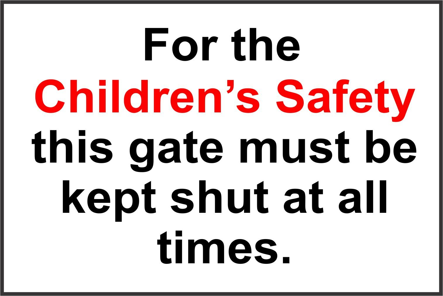 INDIGOS UG - Sticker - Safety - Warning - Set of 5 pack - For the Children's Safety this gate is locked during school hours.Please use the main entrance sign 30x20cm - Decal for Office, Company