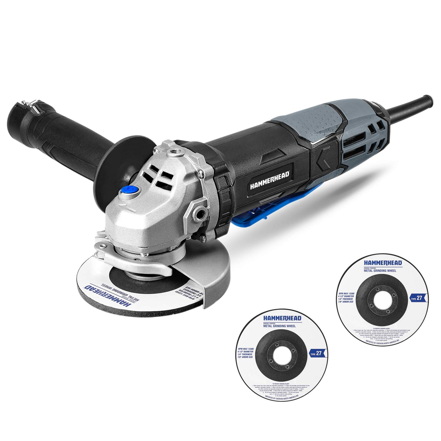 Hammerhead 6-Amp 4-1/2 Inch Angle Grinder with 3 pcs Grinding Wheel – HAAG060