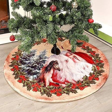 kgjsdf Jupe de sapin de Noël avec motif Père Noël, tapis de sapin