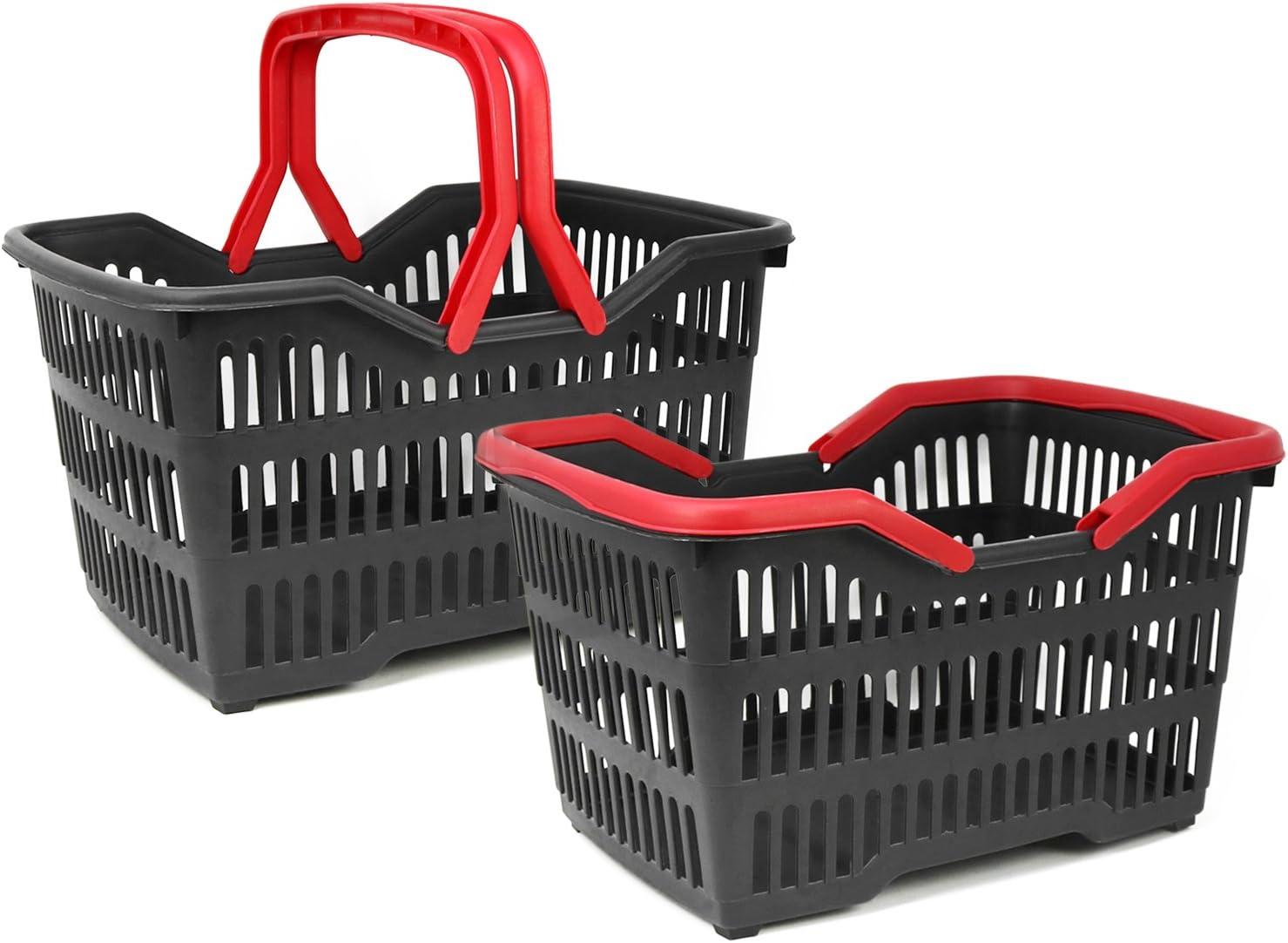 Cesta de pl/ástico Resistente en Negro//Rojo com-four/® Cesta de Compras con Asas de Transporte 001 Piezas - Negro//Rojo 39.5 x 29 x 22.5 cm