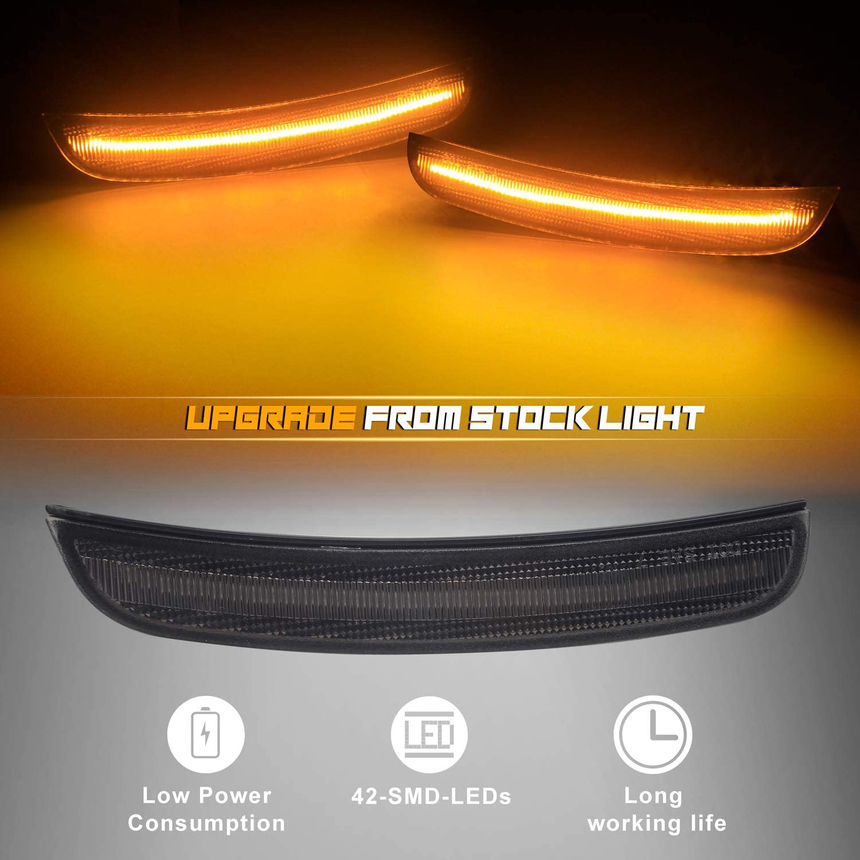 NDRUSH Smoked Lens LED Side Marker Lights Front Bumper Sidemarker ...