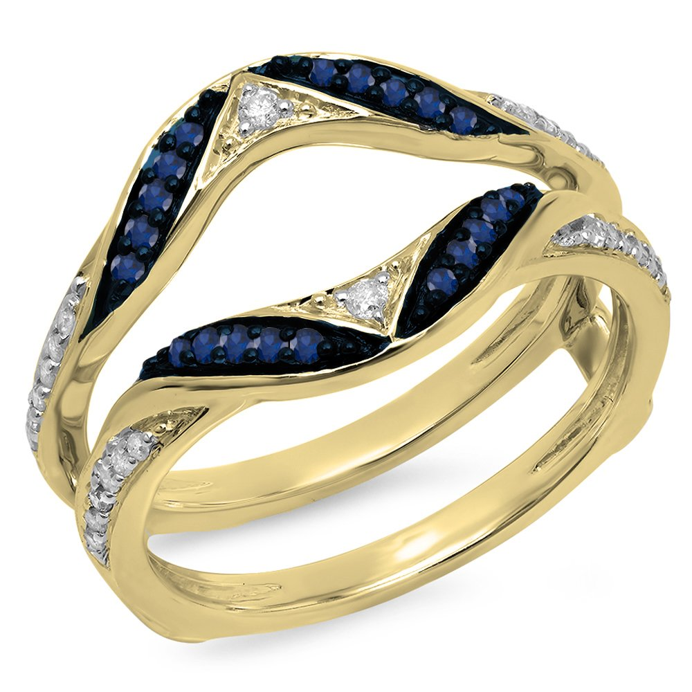 10K Yellow Gold Round Blue Sapphire & White Diamond Ladies Anniversary Guard Double Ring (Size 7)