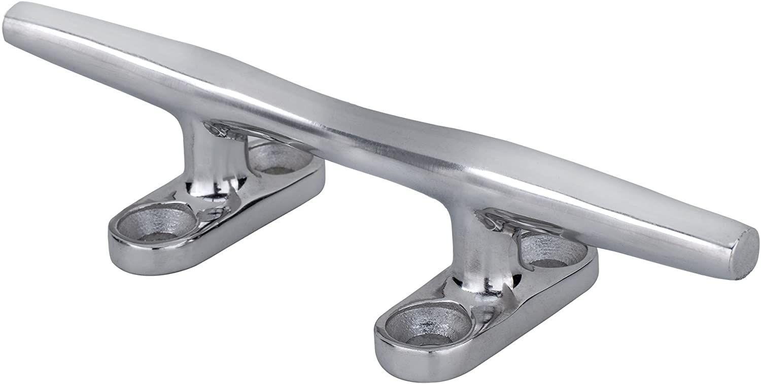 """RecPro Stainless Steel 6"""" Dock Cleat   Marine Hardware   Boat Cleat   4 Hole Herreshoff"""