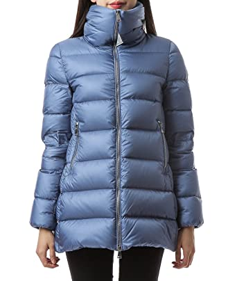 Wiberlux Moncler Torcyn Women's High Neck Longline Down Jacket - Blue - 7