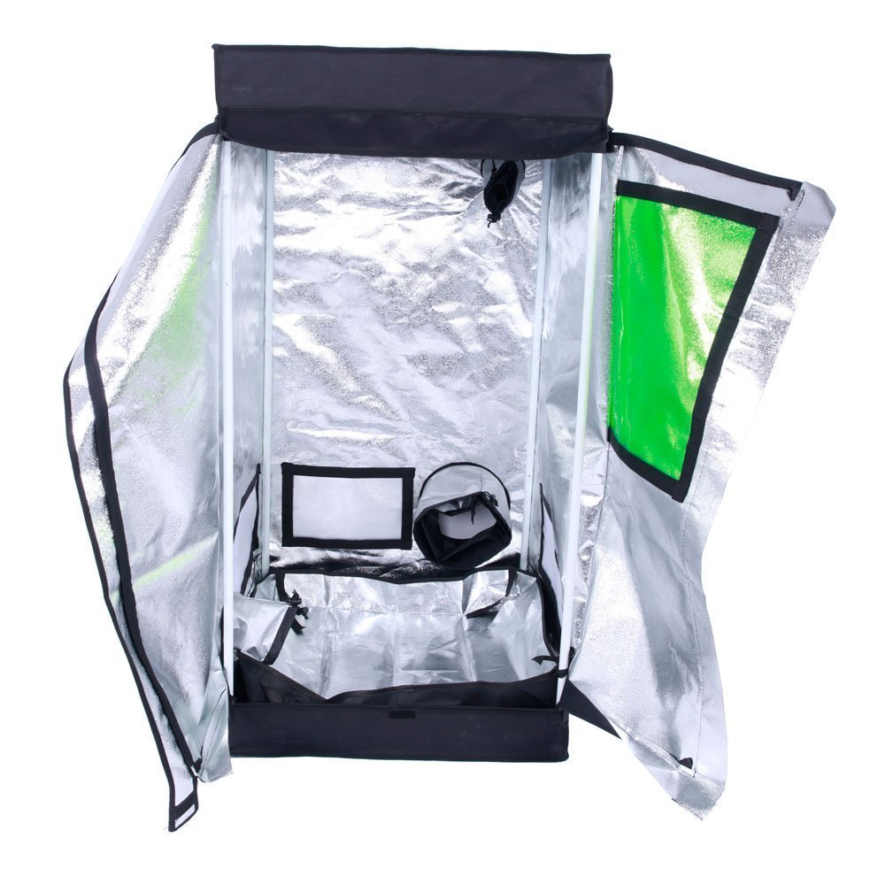 TopoGrow Indoor Grow Tent 600D High-Reflective Hydroponic Grow Room/Hut System Kit for Plant Growing (24''X24''X48'' T-Door)