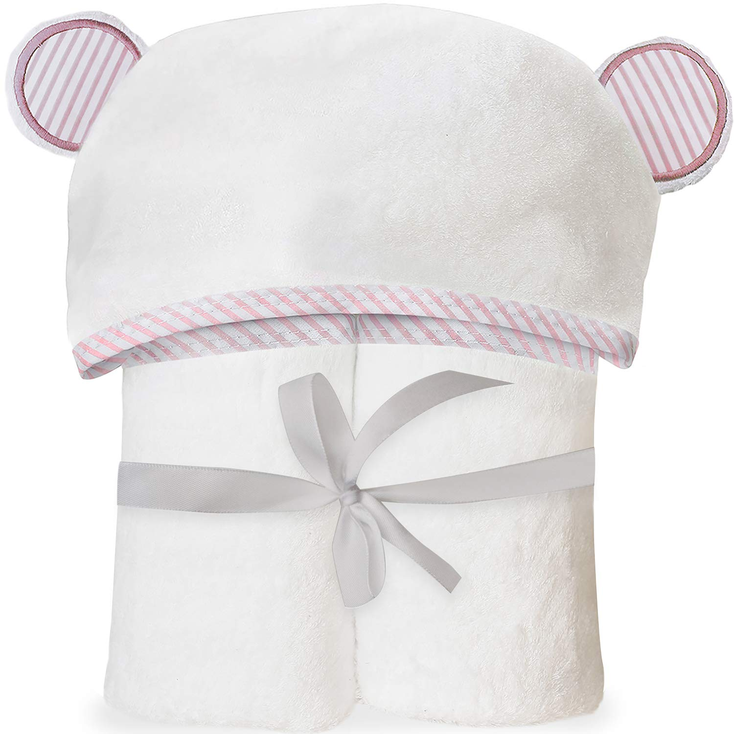 San Francisco Baby Ultra Soft Bamboo Hooded Baby Towel - Hooded Bath Towels with Ears for Babies, Toddlers - Large Baby Towel Perfect for Boys and Girls - Pink