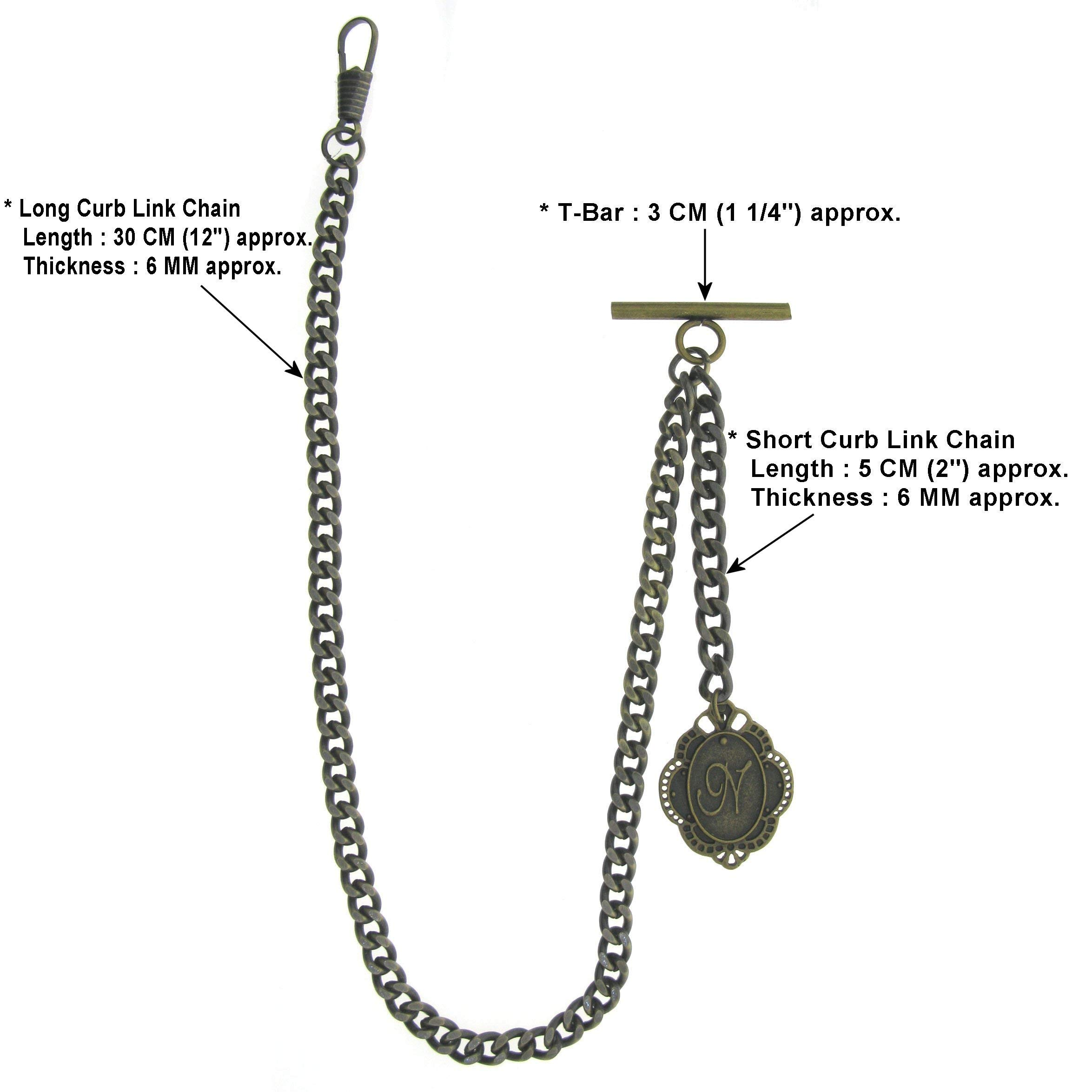 Albert Chain Pocket Watch Curb Link Chain Antique Brass Color + Alphabet N Initial Letter Fob T Bar AC84 by watchvshop (Image #3)