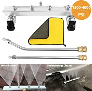 """VIGRUE 16"""" Car Undercarriage Cleaner for Pressure Washer, Under Car Washer Attachment Water Broom Chassis Cleaner with 4 Stainless Steel Nozzle 2 Extension Wands and Cleaning Towel, 1500-4000 PSI"""
