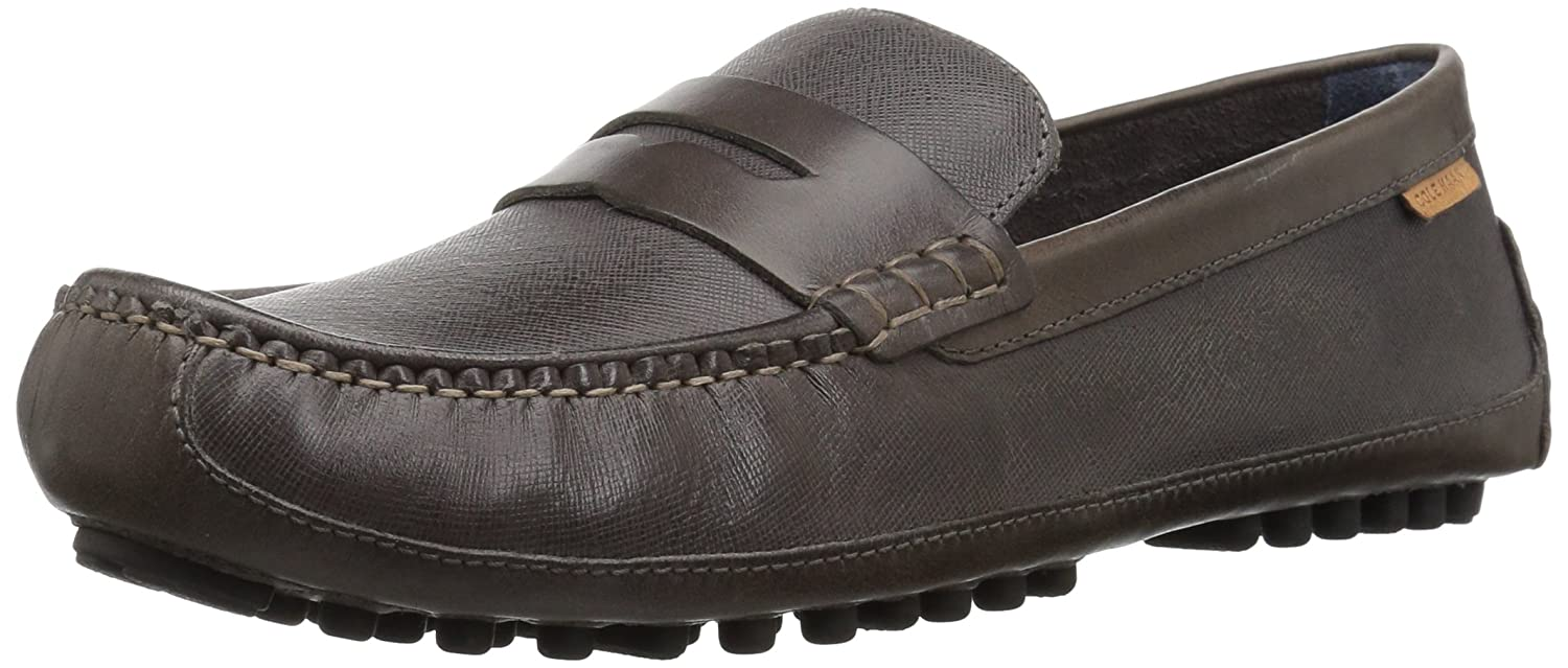 Stormcloud Textured Leather Cole Haan Mens Coburn Penny Drvr Ii Penny Loafer