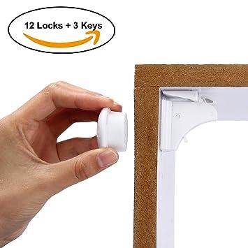 Latinaric bebé Cerraduras de Seguridad Magnético Set sin necesidad de taladrar o herramientas para cajones para armario (4 cerraduras + 1 llaves), ...