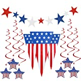 PBPBOX Presidents Day Decoration Patriotic Decorations for Lincoln's Birthday  Washingtons Birthday , Pennant Flags 24 Feet, 6 Foil Swirls Hanging Decorations, 9 Star Cutouts