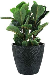 Outdoor Indoor Tree Planters - 14 Inch Large Planter Flower Pots, Plant Pots, Black, Honeycomb